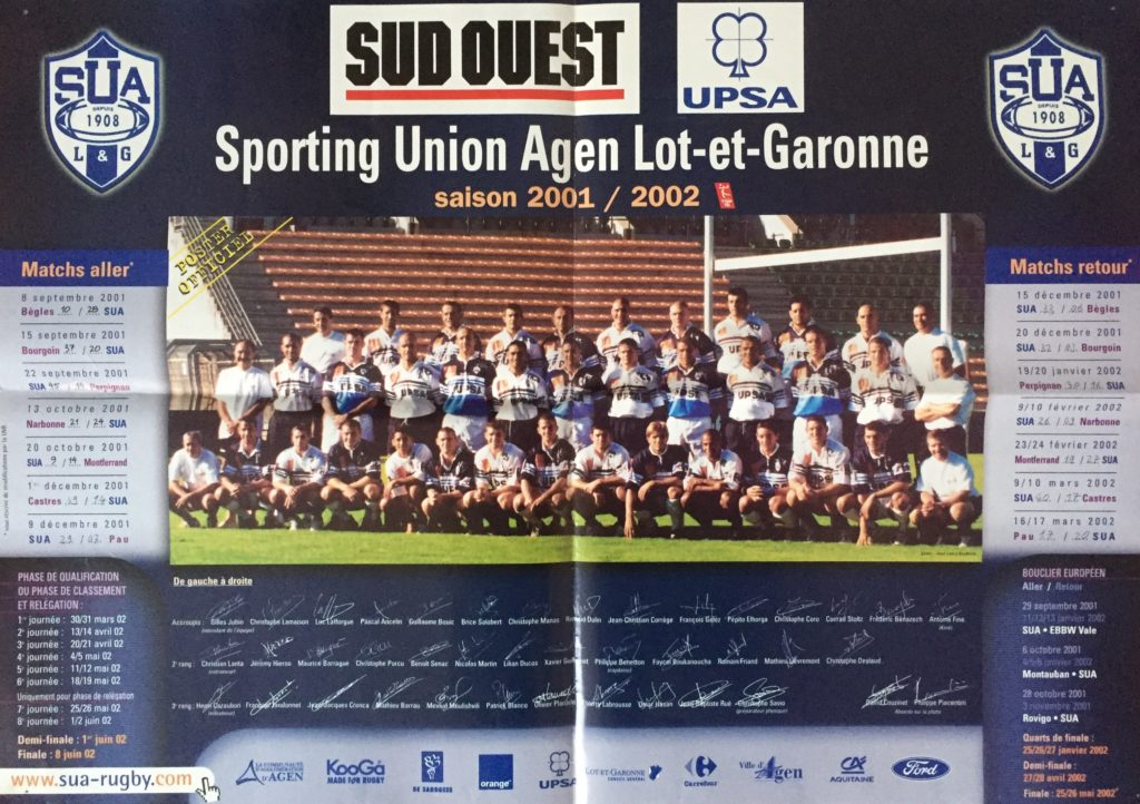 Photo équipe SUA Agen 2002